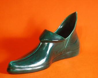 "Unique Vintage 1940's Art Pottery 10"" Green Shoe, Elf, Peter Pan, Faery, Robin Hood"