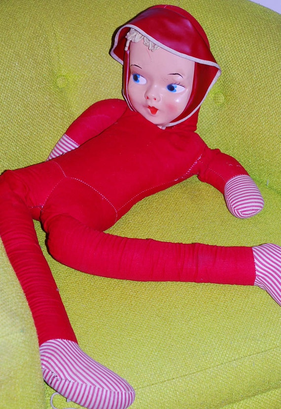 Vintage Red Riding Hood Pixie Girl 38 Long Doll with Long Spindly Legs, 1950s