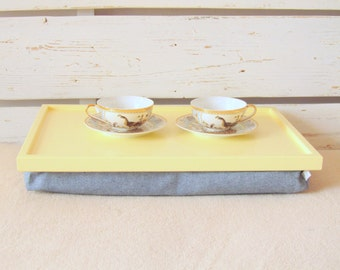 Laptop Lap Desk or Breakfast serving Tray - Yellow tray with Denim pillow