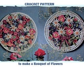 Instant Download PDF Vintage Seventies CROCHET PATTERN to make Bouquets of Flowers Circle Plaque Wall Art Applique Daisy Rose Cornflower