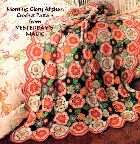 Instant Download PDF Crochet Pattern to make a Morning Glory Flowers & Leaves Granny Squares Motif Afghan Blanket Sofa Throw Rug