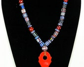 TALHAKIMT Protection Necklace OOAK Chevrons & Antique Red Skunk Beads at Unbeaten Path
