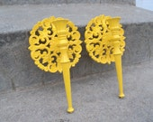Sunny Yellow Ornate Wall Sconces