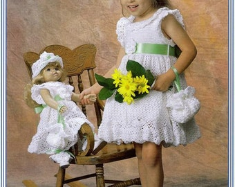 Crochet Easter  Dresses for Dolly and Little Girl  designed by Delsie Rhoades size 2-6 18 inch doll  pdf pattern download through Etsy
