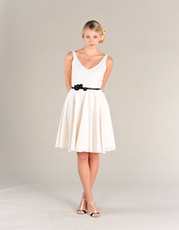 Short Cotton Wedding Dress, Bridesmaid Dress, Swiss Dot, V-neck, low back Eco Friendly, Plus Size wedding dress, reception dress, casual