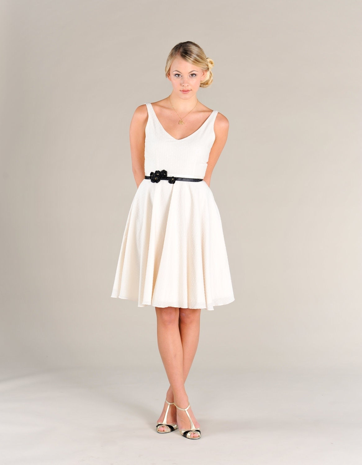 Short Cotton Wedding Dress Bridesmaid Dress Swiss Dot