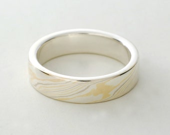 Mokume Gane Ring: Quad Color 18kt Gold and Sterling Silver, Narrow
