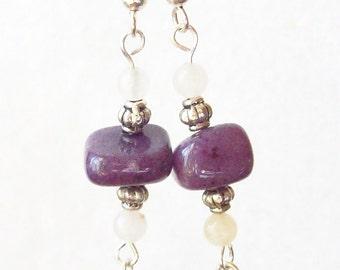 Amethyst Jade Earrings and Adventurine  ID 099