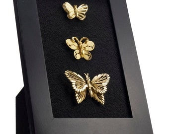 Butterfly Framed Jewelry Art Vintage Gold Brooches Display Pins
