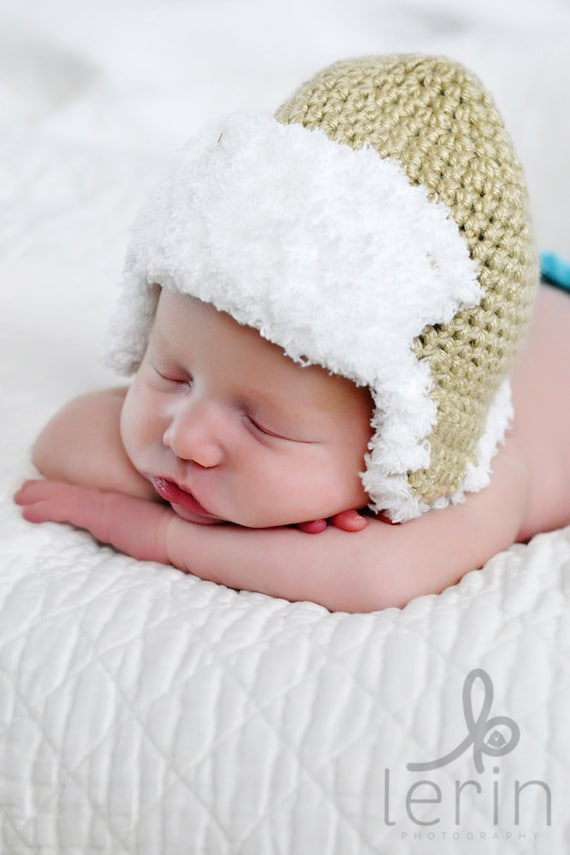 Crochet Newborn Aviator Hat Pattern : PDF Newborn Aviator Hat Crochet Pattern by TinyTiptoesBoutique