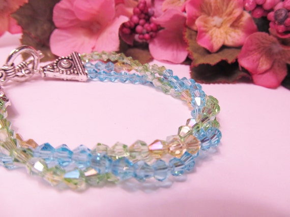 Three Strands of Crystals - Bracelet - Blue, Green, Yellow - CIJ Christmas in July SALE