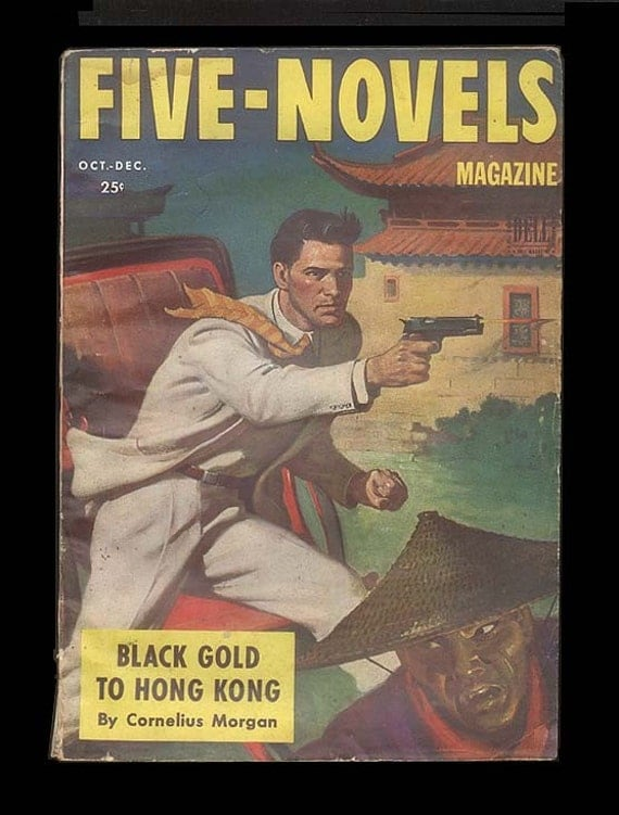 Vintage Pulp Magazine, Five Novels Magazine, Adventures and Thrillers, Great Period Cover Vintage 1940s Zines and Comics