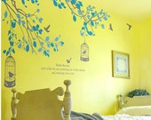 Two Branches with birds cage and two color leaves  -Vinyl Wall Decal Sticker Art