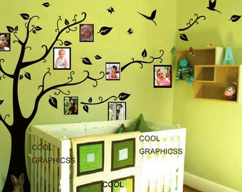 wall decal children wall decal office vinyl wall sticker wall decal bedroom Art Wall Hanging Mural -Tree with picture frames