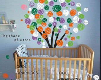 Colorful Tree- Vinyl wall decals trees wall decals nursery wall decals children girl baby wall decals  white brown pink flowers wall sticker