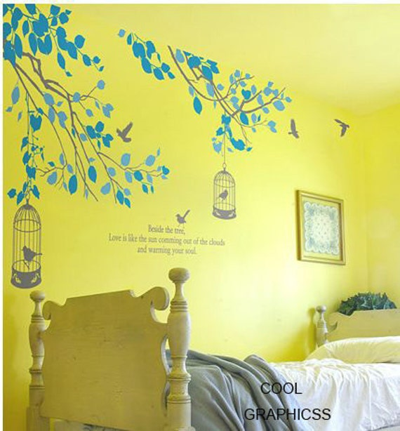 wall decal branches vinyl wall decal trees wall sticker wall decal children bedroom wall decor - Two Branches with birds cage