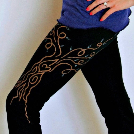 40% Off Super Sale - MEDIUM Yoga Pants With Artistic Tree Of Life Hand Painted, Yoga Clothing, Womens Pants