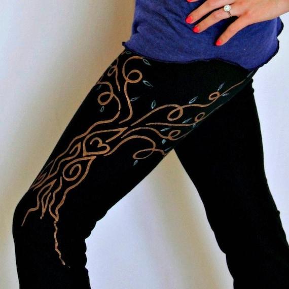 Yoga Pants Black SMALL Hand Painted, Womens Yoga Clothing Custom