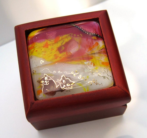 BFF cats fused glass box, orange, yellow, fuschia, gold paint, dichroic, art framed in a mahagony box top