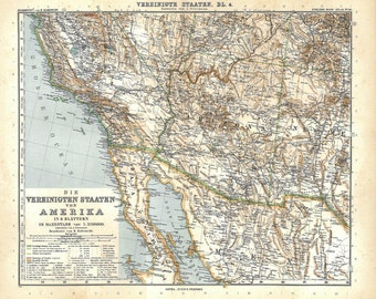 Vintage Map of South West United States, Pacific Coast, California, Arizona, New Mexico