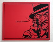 """Artwork For Men original """"GANGSTA"""" 24x30 Red Acrylic Painting on Canvas. Or Any Custom Color You Want"""