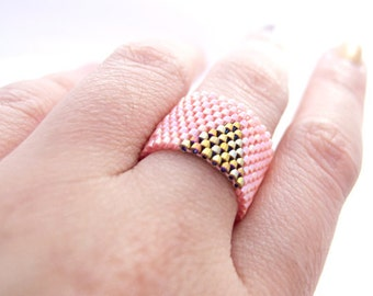 Beaded Pink Ring, Gold Triangle Ring, Pink and Gold Ring, Dreadlock Bead, Geometric, Cleopatra