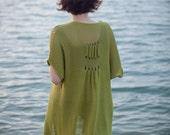 Knitted green jacket - Women cardigan - 073