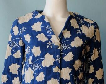 1940s unique cotton twill leaf jacket