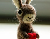 SALE The Little Love Bunny : AdoraWools Needle Felted Gits - Cake Toppers and Cake Banners