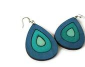 Blue Wood Earrings - Ombre Blue Earrings - Drop Earrings - Nickel Free Earrings - Teardrop Earrings - Chunky Earrings - Statement Earrings