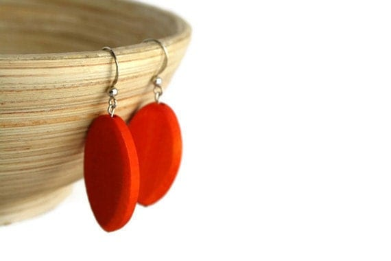 Orange Earrings - Orange Wood Earrings - Orange Beaded Earrings - Orange Wedding - Orange Bridesmaid Earrings - Nickel Free Hook Earrings