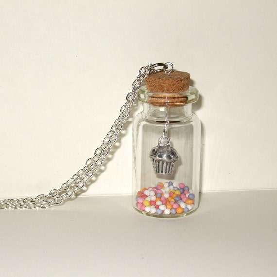 Cupcake Necklace, Pretty Bottle Pendant, Muffin Necklace, Fairy Cake, Cupcake Jewelry, Bottle Necklace, Sweet Kawaii Necklace, Cupcake Charm
