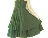 Sale, Strapless Cotton Dress / Boho Dress / Maxi Skirt in Dark Green.