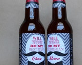 Set of 3 - Peel-and-Stick - Will you be my Groomsman and Best Man - BEER BOTTLE LABELS - Printed & Shipped