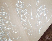 Calligraphy Envelope Addressing -  White Ink on Kraft Paper - Pretty Flourish at the bottom