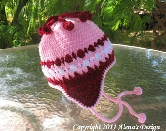 Crochet Pattern 004 - Cherries Hat - Ear Flap Hat Baby Girl Toddler Children Winter Hat Mittens Booties Pink Hat
