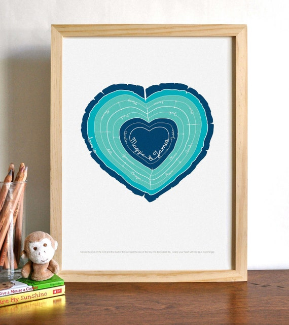 Heart Stump Modern Family Tree Rings