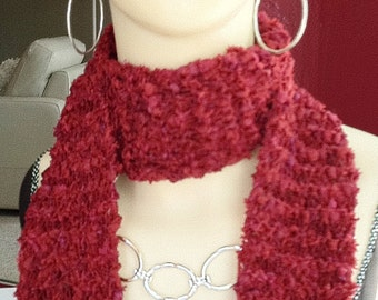 LIPSTICK RED Hand-knitted scarf, lovely texture - Christmas, New Year's
