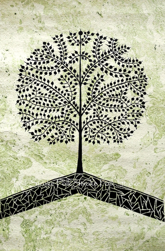 Items similar to Tree Of Life. Warli Painting Indian Folk ...