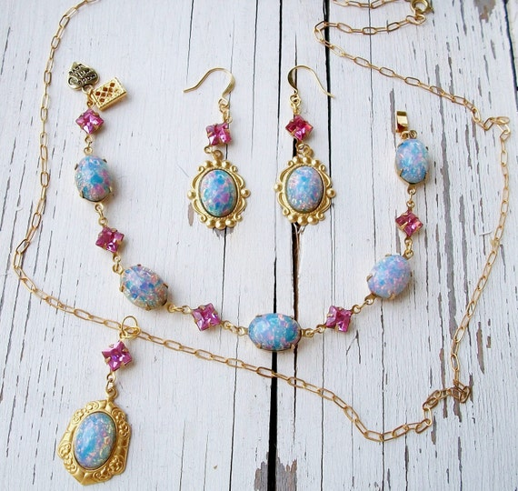"SALE Handmade GLASS Opal Earrings, Bracelet & Necklace in Pink and Blue ""Dreaming in Color"" OOAK Vintage Glass Components Exquisite Elegance"