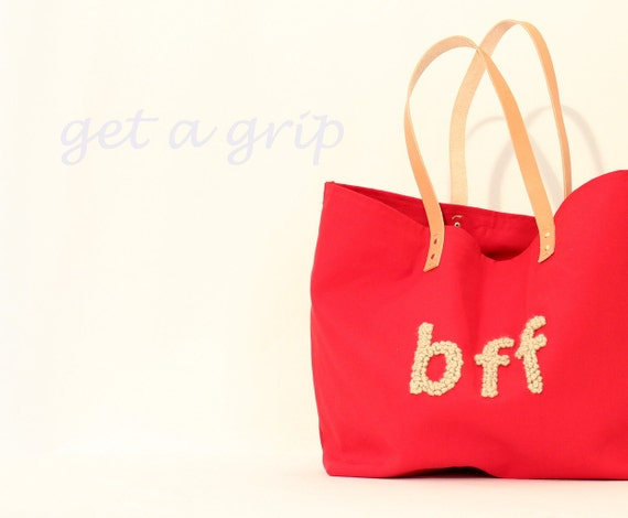 "Canvas Tote....""BFF"" RED tote bag with PERSONALIZED leather label"