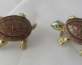 Turtle Scatter Pins Brown Enamel Shells & Green Rhinestone Eyes in Gold Tone metal Cute