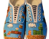 Mario Brothers Painted Canvas Sneakers, Nintendo (Medium)