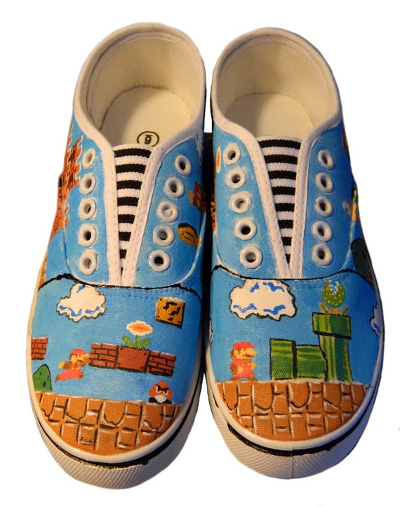 Mario Brothers Painted Canvas Sneakers, Nintendo (Medium)