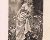 RESERVED-Ophelia-Tragedy-1891 Old Antique Vintage Picture-Nude Art-Shakespeare's Hamlet-Topless Woman-Mad-Flower-Suicide-River-Print