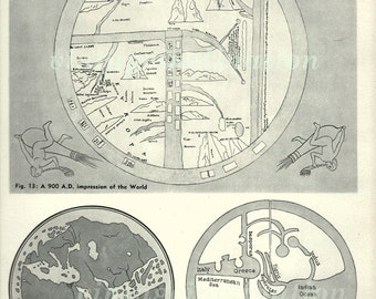 900 A.D. Impression Of The World, 1940s print, astronomy, ancient, universe, earth map, space, chart, universe, mythology
