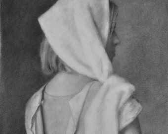 lara, charcoal drawing on paper, black and white art, monochromatic drawing, Dr. Zivago's Lara