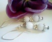 Milk Glass Earrings-Silver Floral Vintage Inspired-Wedding Jewelry
