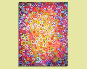 Bright Summer Lights'' - Giclee Print on Stretched/Unstretched Canvas in  Orange Pink Yellow Blue