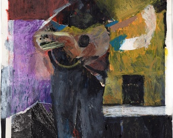 "Original Painting/Mixed Media - ""Man with the Guitar"" by Peter Mack"